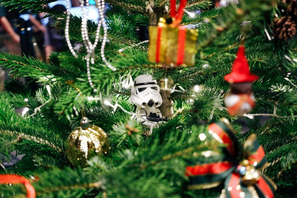 Lego figurine in a christmas tree